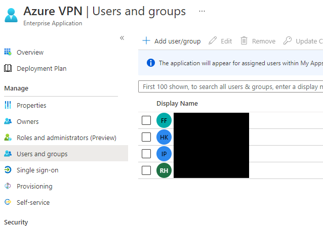 Azure VPN users and groups