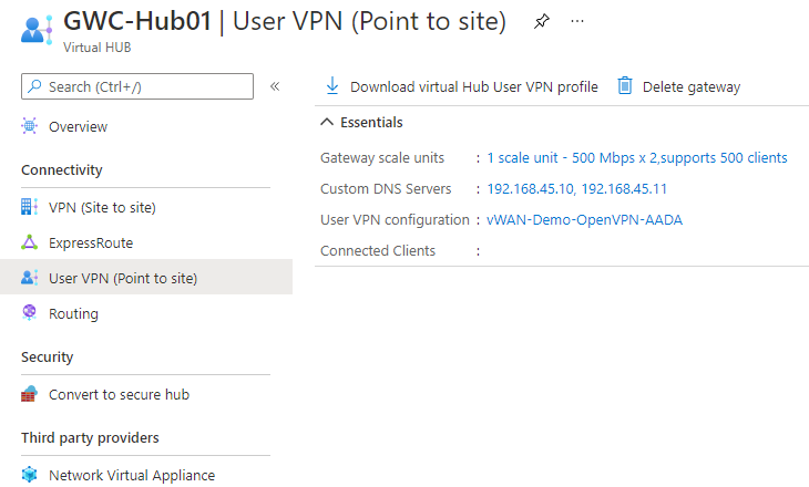 DNS Servers to the Point to Site client configuration