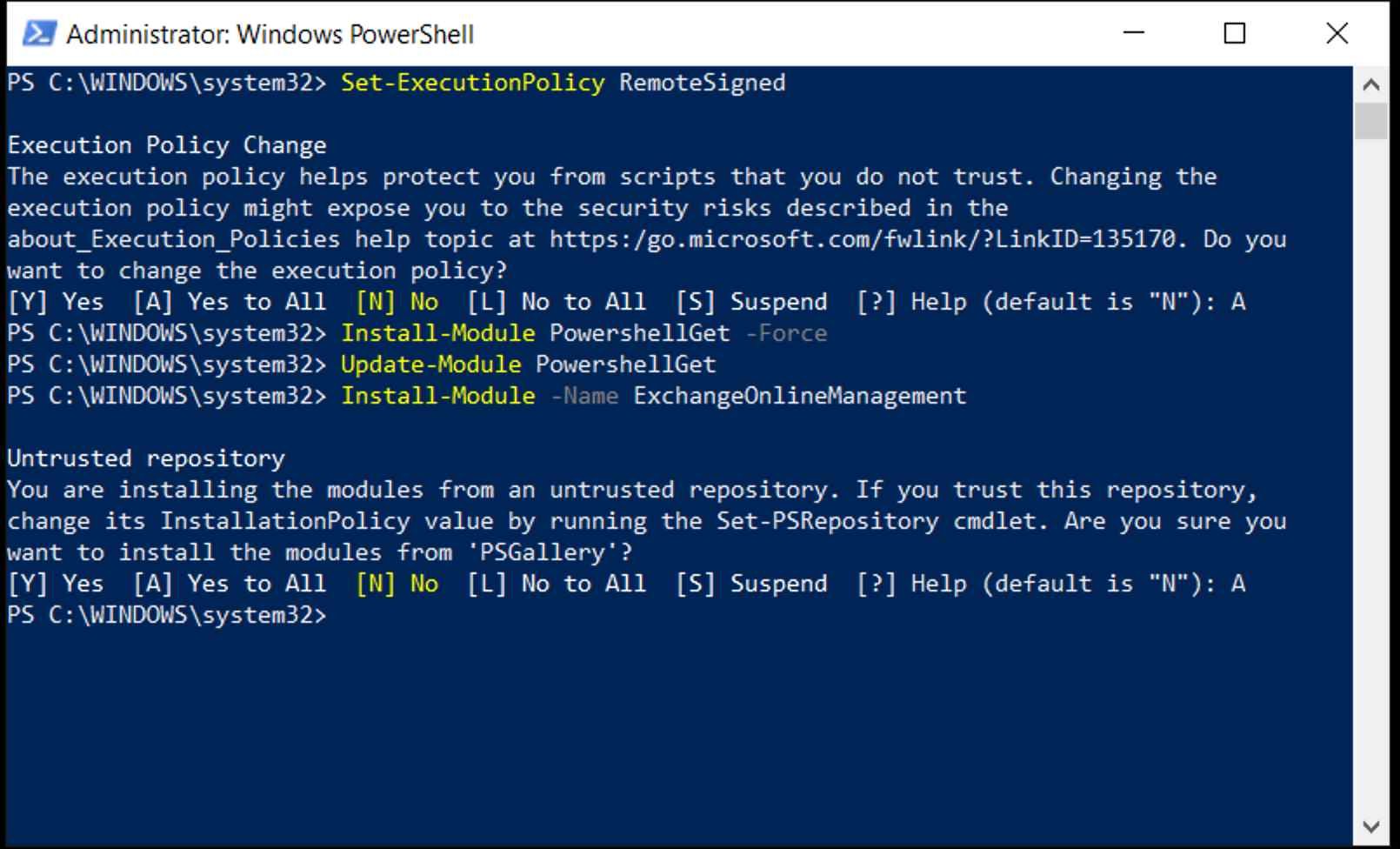 PowerShell on Windows