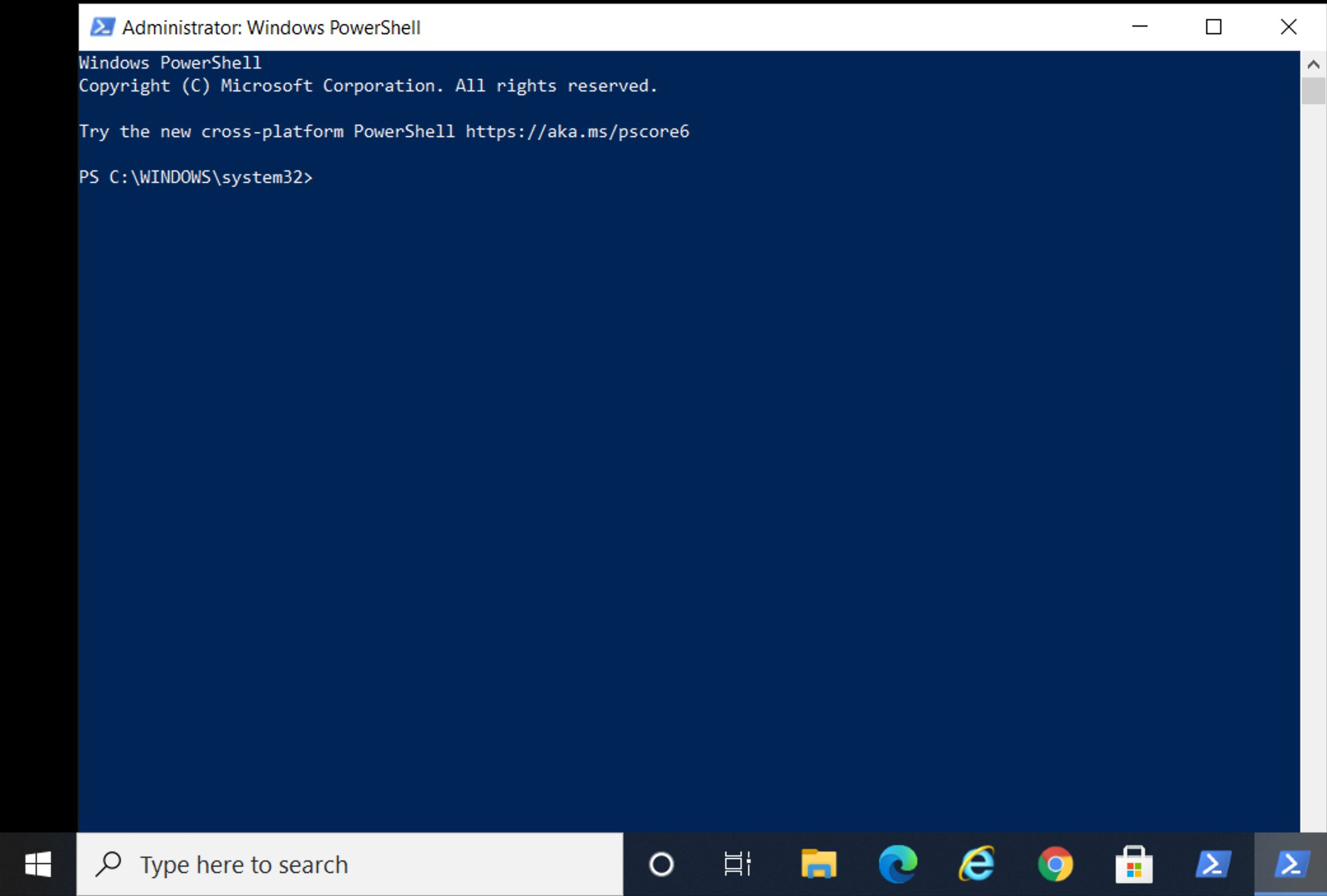 PowerShell Launches and presents as follows