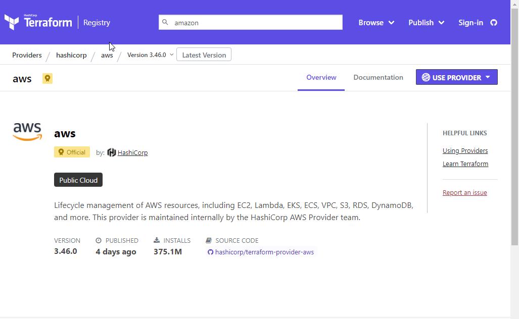 Terraform AWS module found on the Terraform registry site