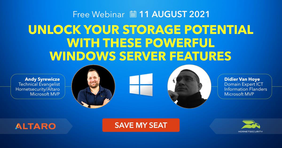 Windows Server Storage webinar