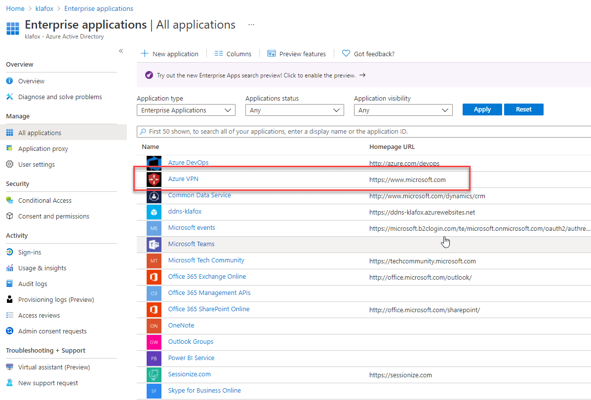 Integrate the Azure VPN Client to Azure Active Directory