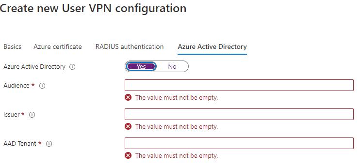New User VPN Configuration