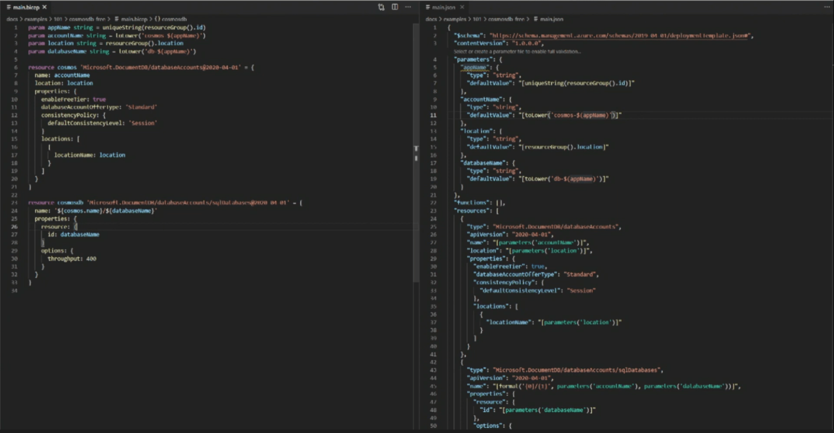 Comparison of Bicep code and ARM template JSON code
