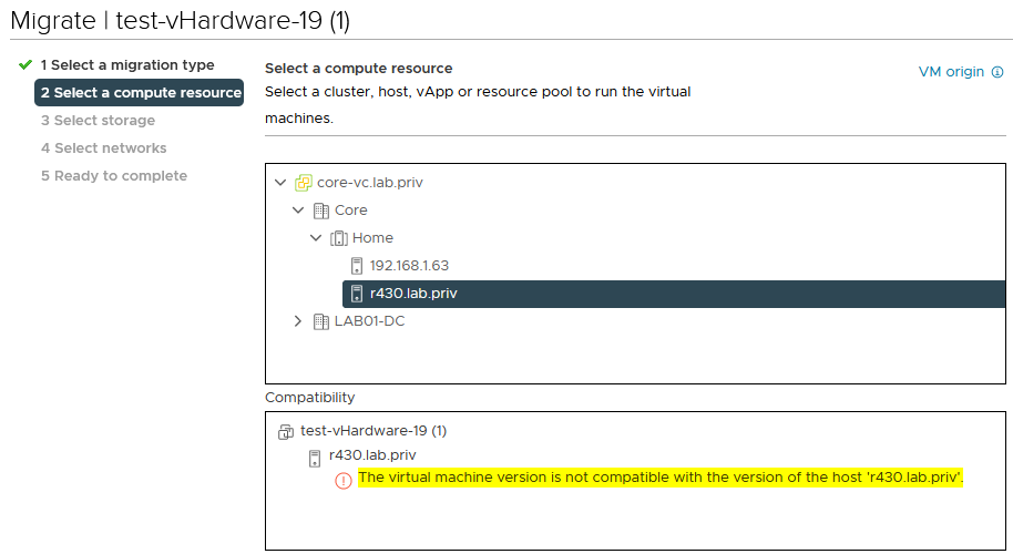 Hosts running an older version of vSphere appear as not compatible in the VM migration wizard