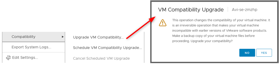 VM compatibility can be upgraded in powered off state but cannot be downgraded.