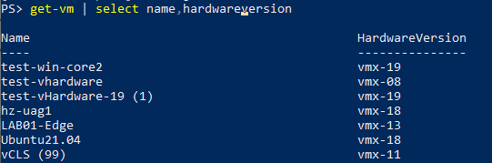 Get the versions of all VMs with the 'HardwareVersion' property