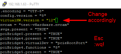 The virtualHW.version key controls the VM's compatibility level