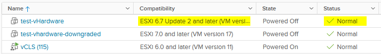 The VM is back in a valid state after removing the unsupported device