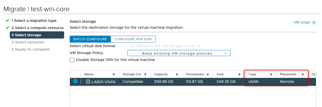 Mounted datastores appear as remote when moving a VM