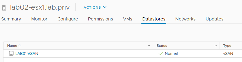 Mounted datastores should appear on the client hosts
