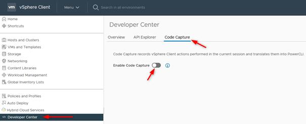 developer center code capture