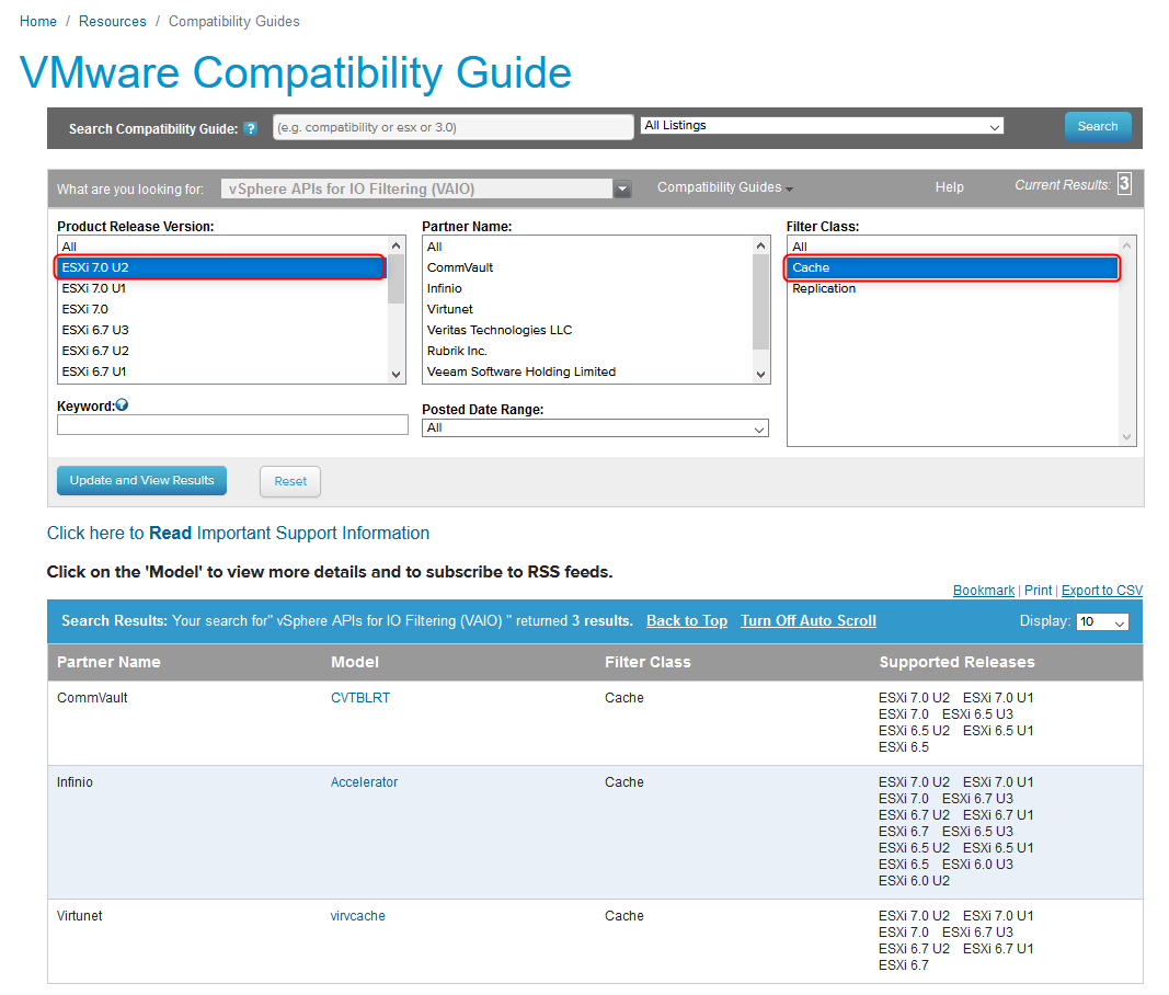Compatible third-party products are listed in the VMware HCL for each vSphere version
