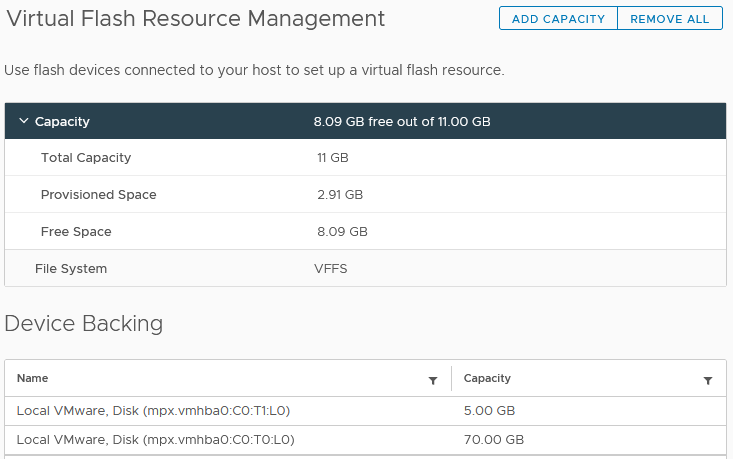 Virtual Flash devices are now dedicated to Host swap caching and VM I/O Filtering