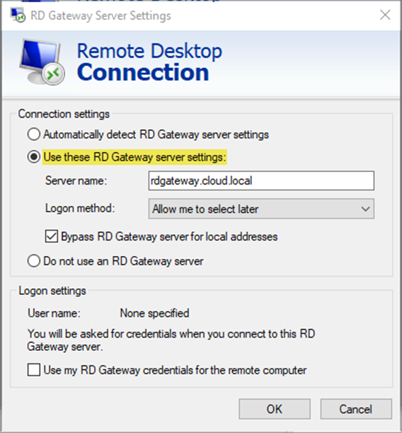 configuring RDP to use a Remote Desktop Gateway to connect to an RDS environment
