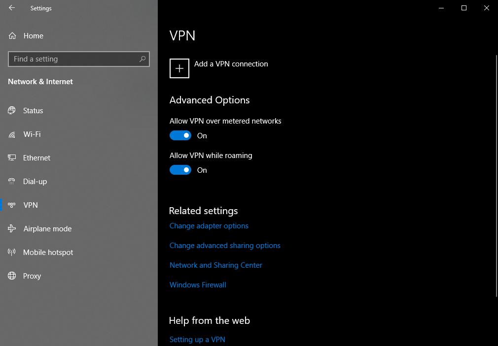 Windows 10 VPN settings