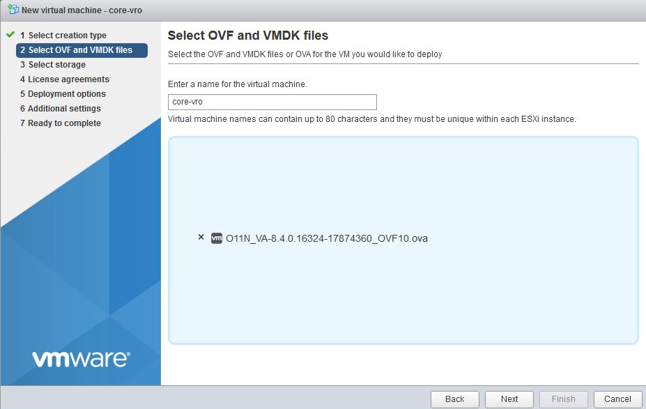 Choose a name for the VM and browse to the OVA file you downloaded