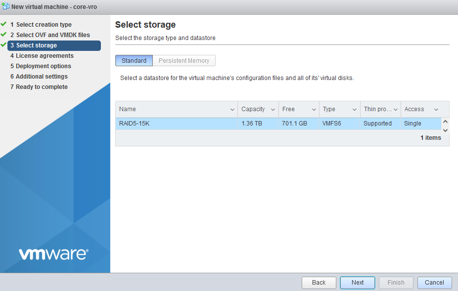 Select a datastore with enough space