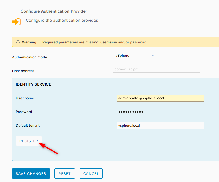 type your credentials to connect to vCenter
