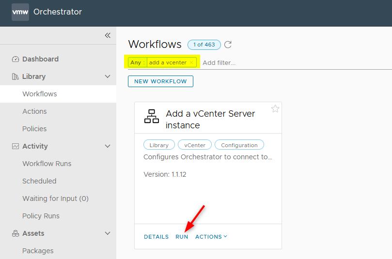Add a vCenter Server instance workflow