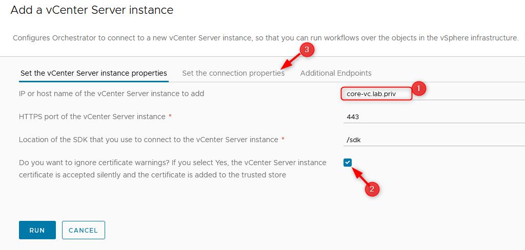 Set the vCenter Server instance