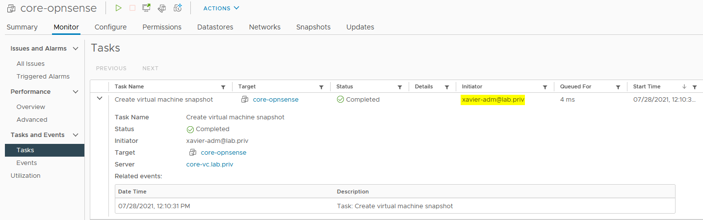 You will find the same task in the vSphere client that ran under the user you were logged in as