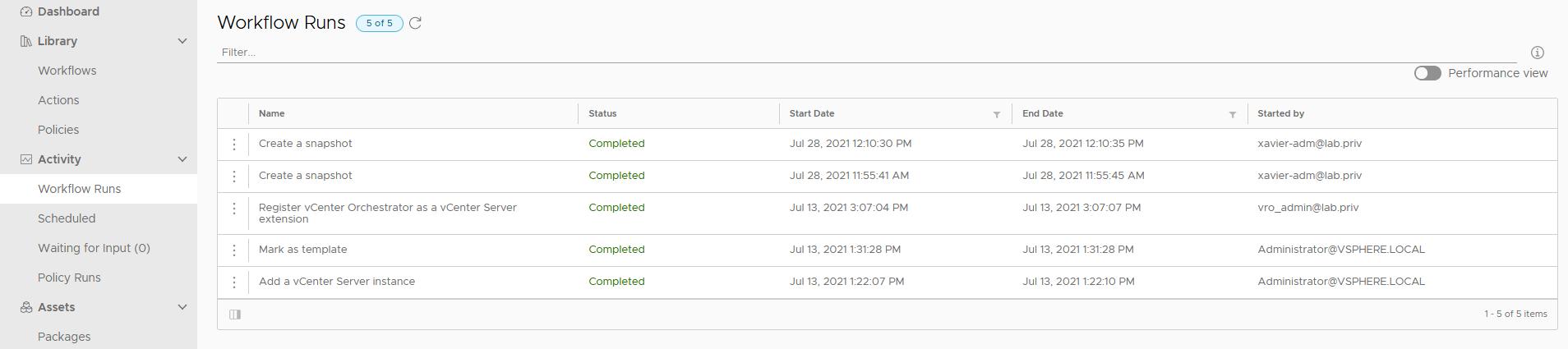 vRealize Orchestrator Client under Activity > Workflow Runs