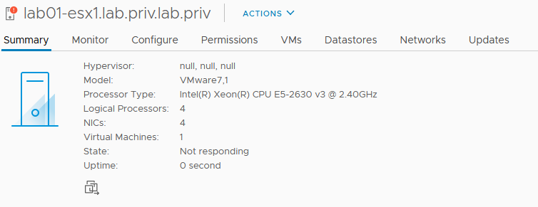 ESXi host with vSphere install on sd card becomes not responding