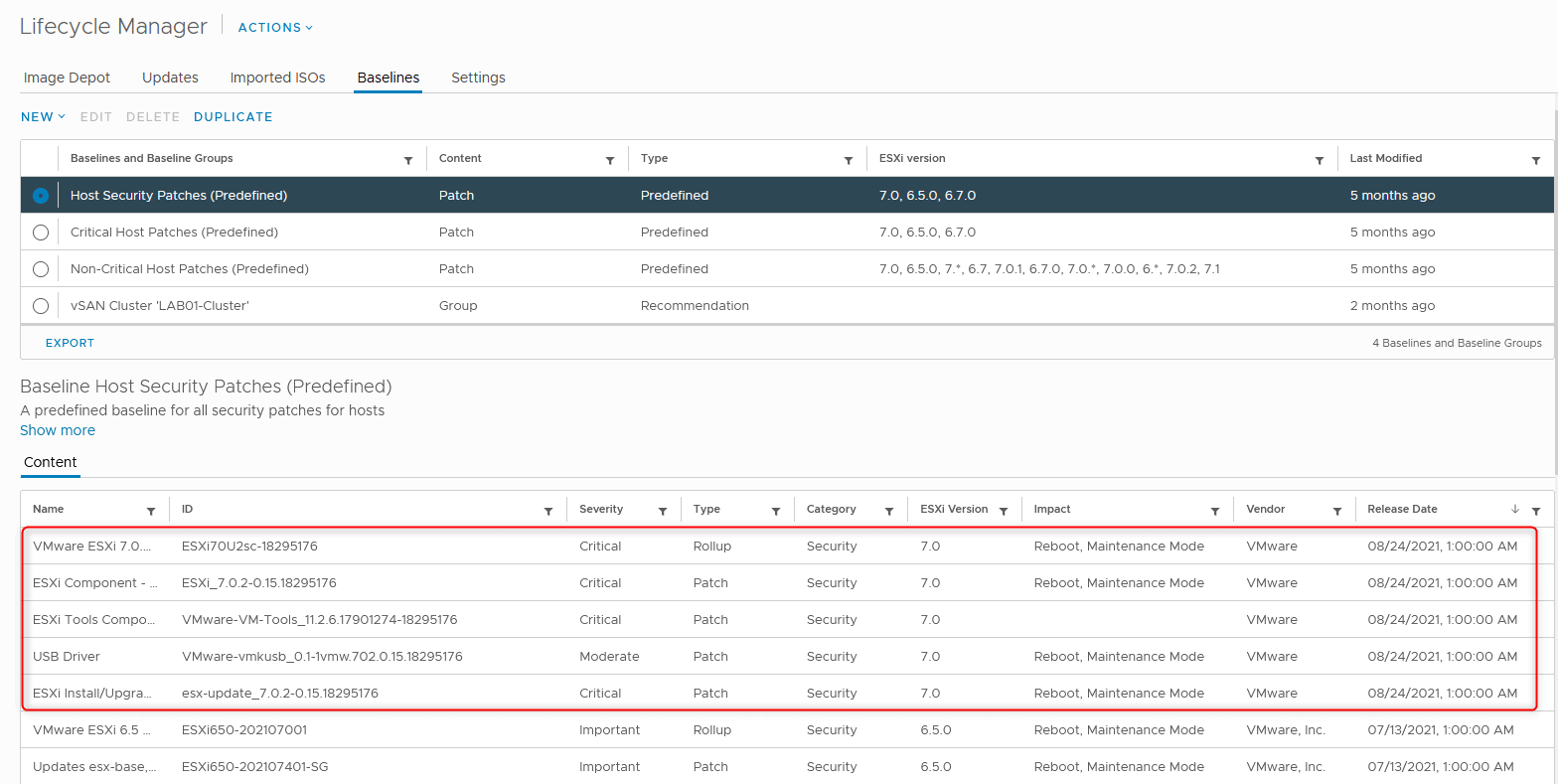 The vSphere 7u2c update is dated on the 24/08/2021